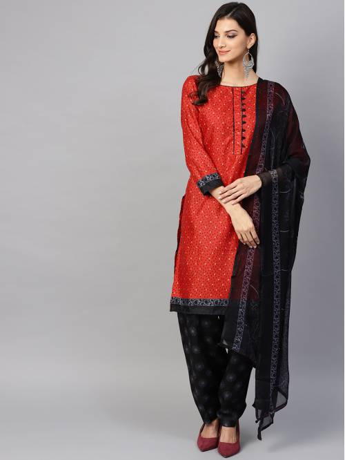 Red Cotton Blend Printed Straight Patiala Suit