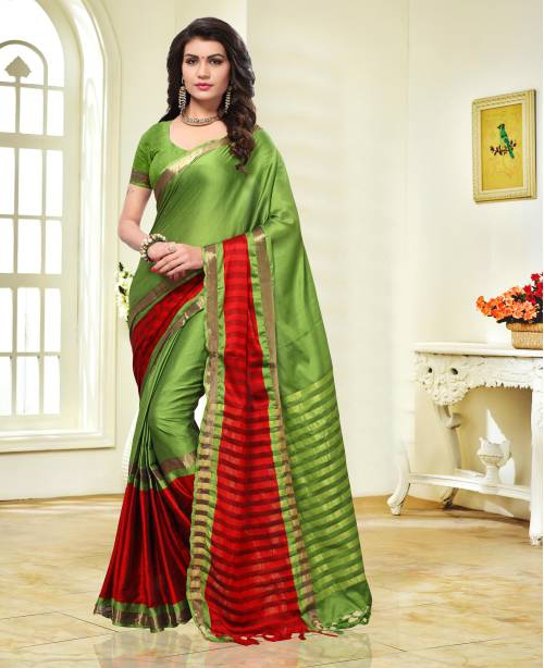 Green And Red Color Cotton Silk Thread Work Traditional Saree With Unstitched Blouse Material