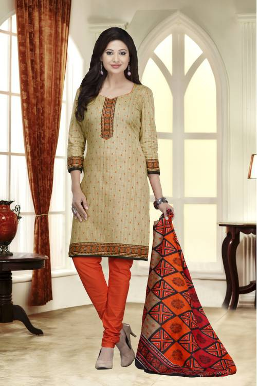 Beige Color Cotton Blend Printed Traditional Unstitched Straight Suit