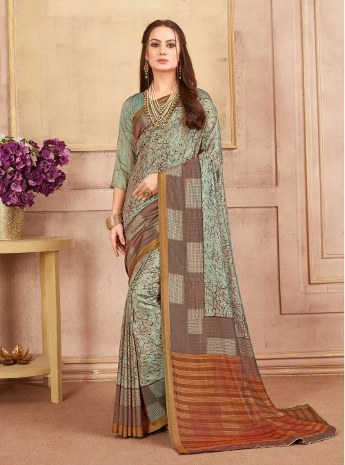 Sea Green Art Silk Printed Saree With Unstitched Blouse Material
