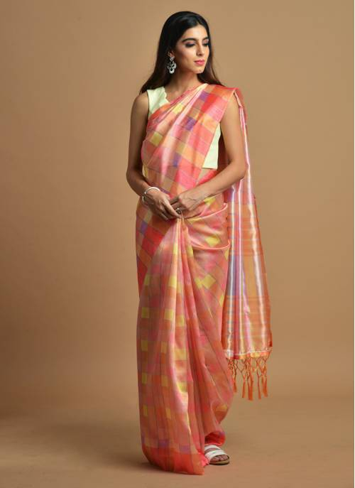 Peach Color Silk Blend Printed Traditional Saree With Unstitched Blouse Material