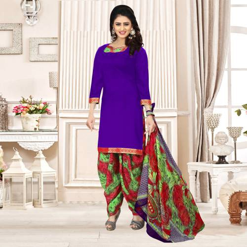 Purple Color Crepe Plain Unstitched Straight Patiala Suit