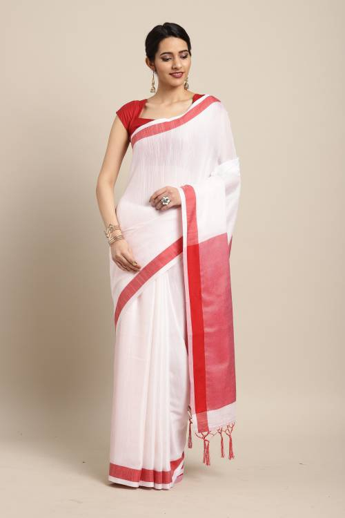 White Linen Plain Saree With Blouse Piece