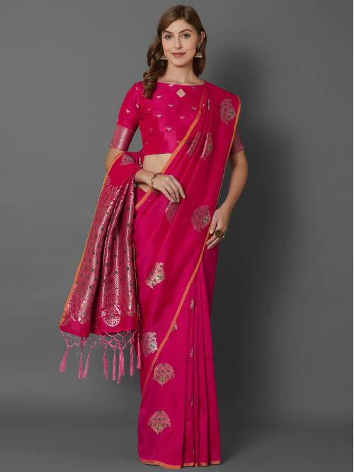 Pink Silk Blend Traditional  Woven Saree With Unstitched Blouse Material