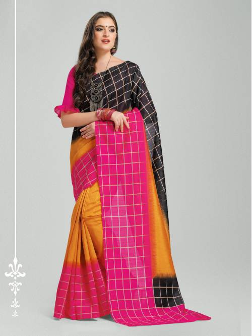 Craftsvilla Multicolor Silk Blend Printed Traditional Saree With Unstitched Blouse Material