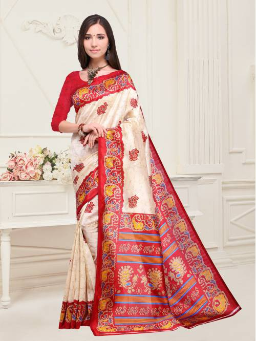 Beige Color Art Silk Printed Traditional Saree With Unstitched Blouse Material