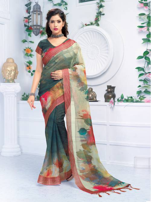 Craftsvilla Grey Linen Digital Printed Designer Saree With Unstitched Blouse Material