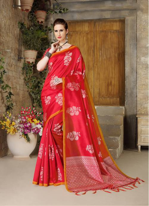 Red Silk Blend Printed Designer Saree With Unstitched Blouse Material