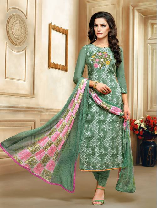 Craftsvilla Olive Green Polyester Crepe Embroidered Semi-stitched Salwar Suit