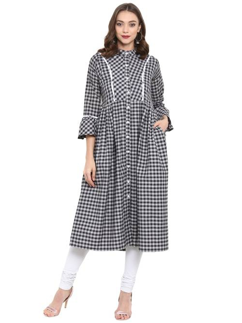 Black Cotton Blend Checkered Calf Length Shirt Style Kurti