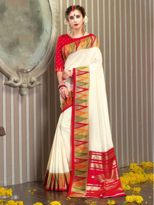 Off White Silk Blend Woven Traditional Saree With Unstitched Blouse Material