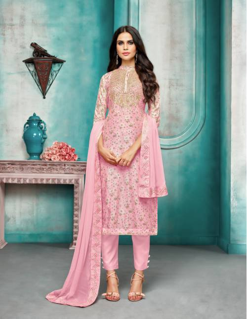 Pink Masline Silk Embroidered Semi-stitched Salwar Suit