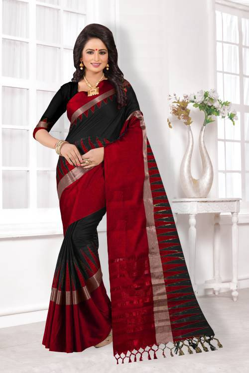 Black And Red Color Cotton Silk Zari Work Traditional Saree