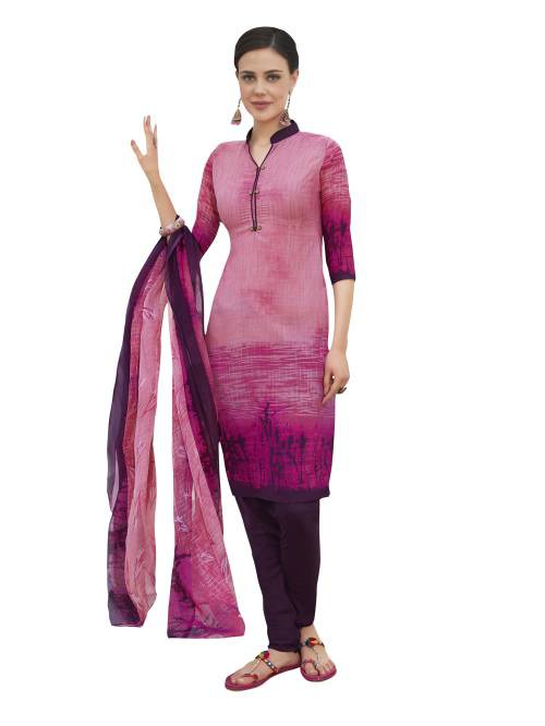 Craftsvilla Pink Color Crepe Printed Unstitched Straight Suit