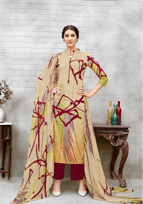 Beige Color Pure Cotton Abstract Printed Unstitched Salwar Suit