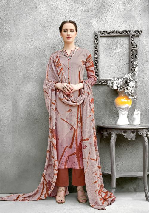 Mauve Color Pure Cotton Abstract Printed Unstitched Salwar Suit