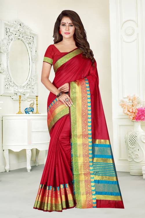 Pink Color Cotton Blend Solid Traditional Saree With Unstitched Blouse Material