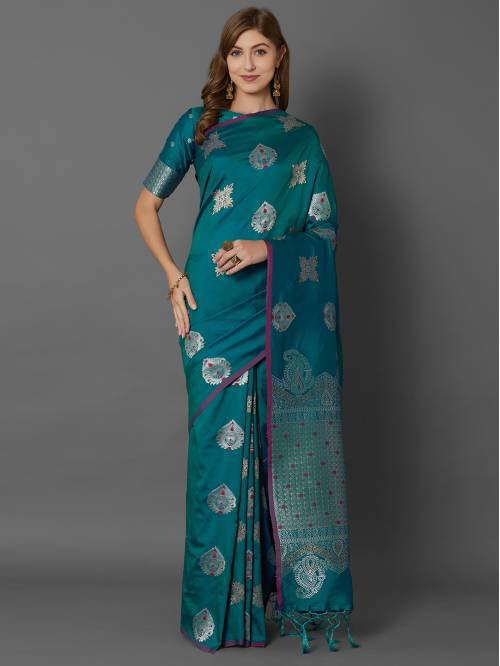 Teal Green Silk Blend Traditional  Woven Saree With Unstitched Blouse Material