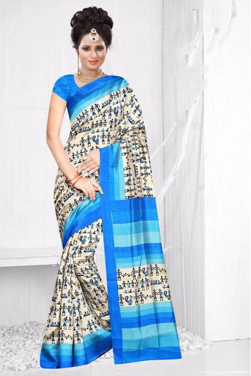 Craftsvilla Beige And Blue Color Patola Silk Printed Designer Saree