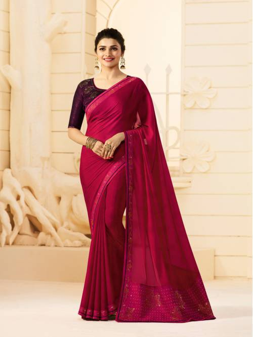 Pink Georgette Lace Border Partywear Saree With Unstitched Blouse Material