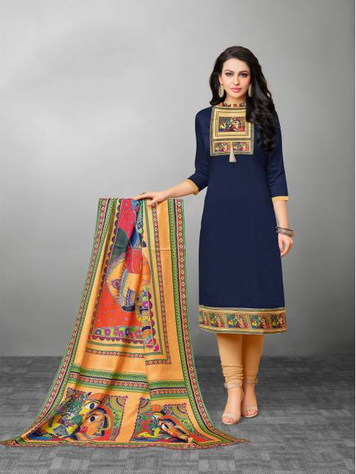 Craftsvilla Navy Color Silk Printed Unstitched Traditional Straight Suit