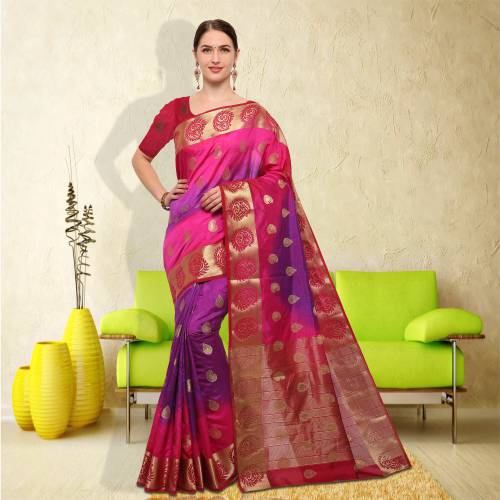 Pink And Purple Color Silk Thread Work Traditional Saree