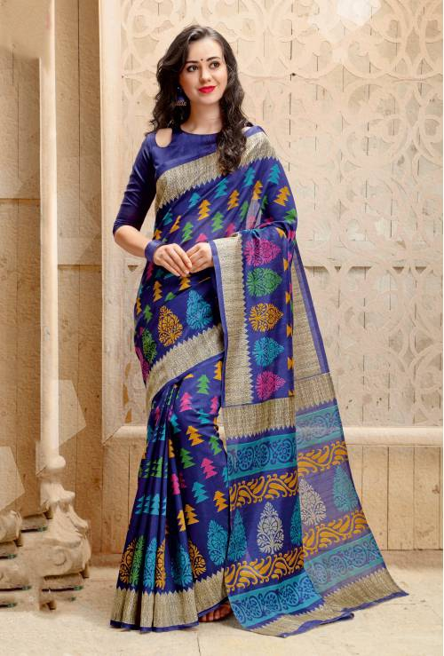 Navy Color Bhagalpuri Silk Printed Traditional Saree With Unstiitched Blouse Material