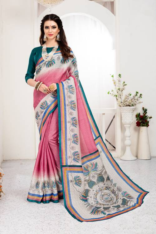 Craftsvilla Pink Color Khadi Silk Printed Traditional Saree With Unstitched Blouse Material