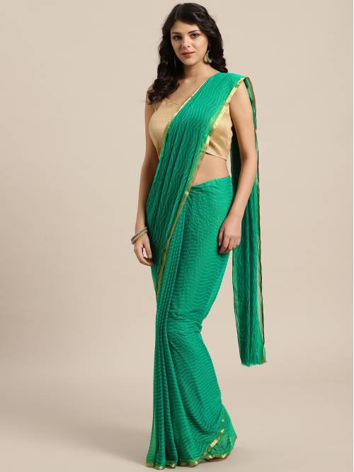 Green Chiffon Saree With Unstitched Blouse Material
