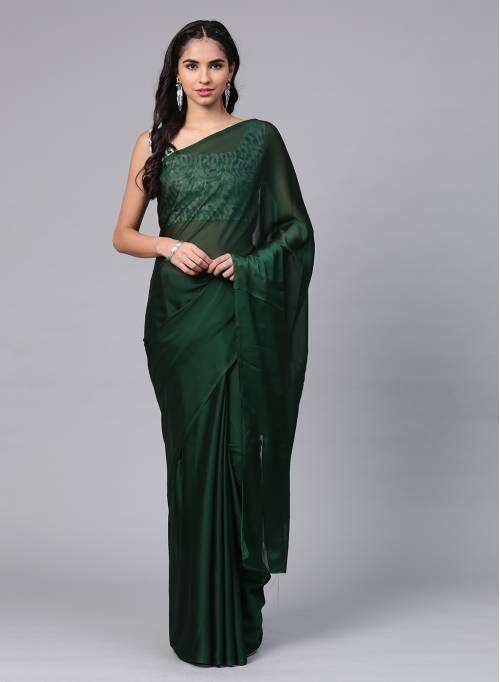 Craftsvilla Green Silk Blend Plain Designer Saree With Unstitched Blouse Material