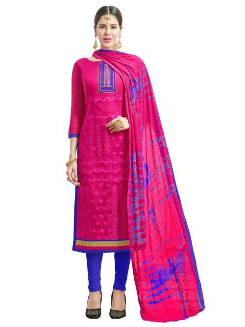 Pink Color Silk Embroidered Unstitched Traditional Straight Suit