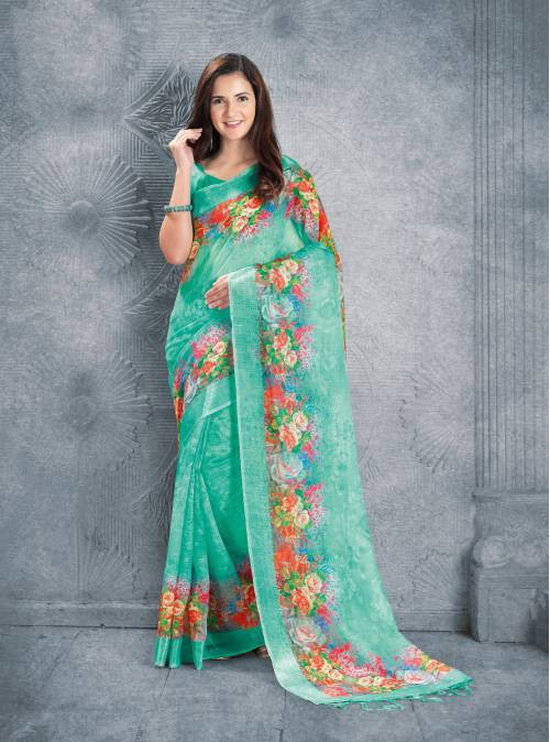 Craftsvilla Green Linen Digital Printed Designer Saree With Unstitched Blouse Material