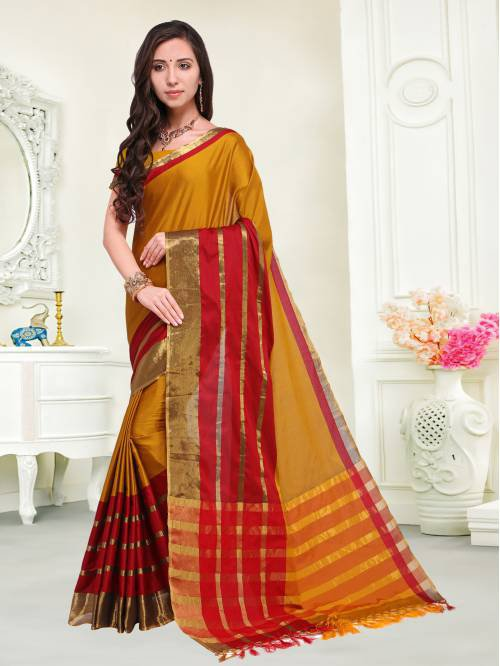 Mustard Color Cotton Silk Zari Work Traditional Saree With Unstitched Blouse Material