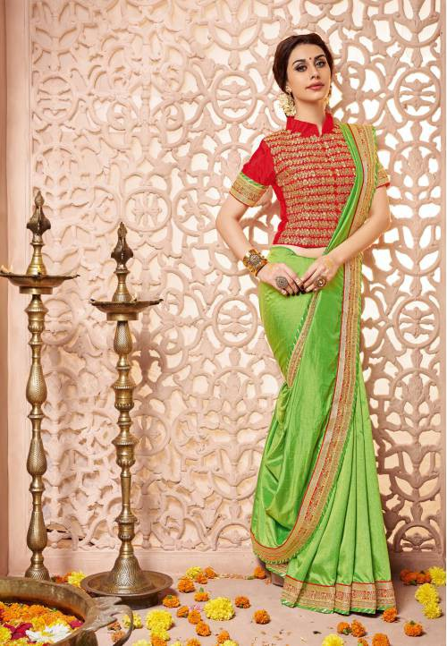 Craftsvilla Green Silk  Embroidered Designer Party Wear Saree With Unstitched Blouse