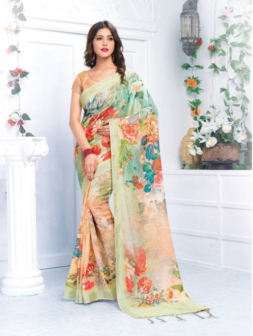 Multicolor Linen Digital Printed Designer Saree With Unstitched Blouse Material