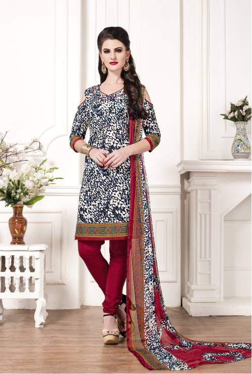 Navy And White Color Cotton Blend Printed Traditional Unstitched Straight Suit