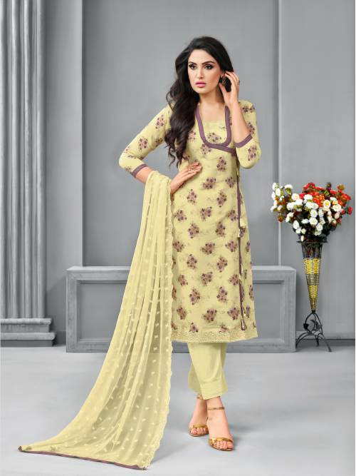 Craftsvilla Yellow Cotton Blend Printed Unstitched Pants Suit