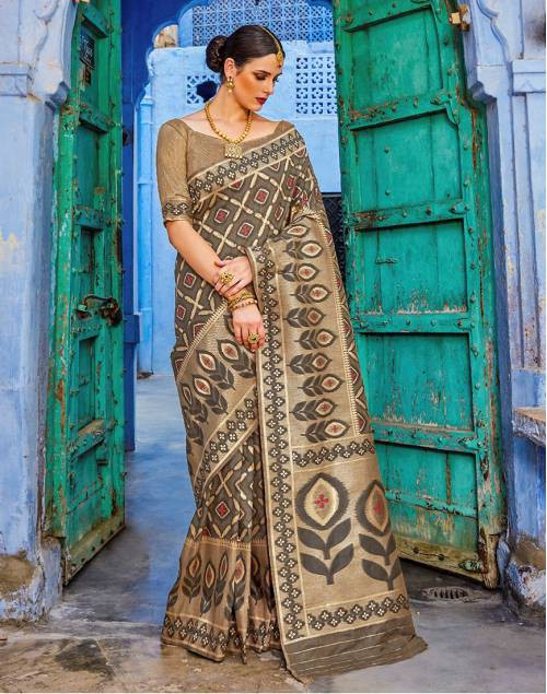 Craftsvilla Grey Silk Blend Banarasi Woven Saree With Unstitched Blouse Piece