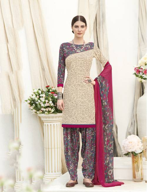 Beige Color Crepe  Printed Unstitched Straight Suit