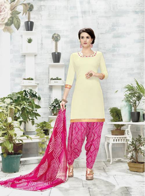 Off White Color Cotton Blend Plain Unstitched Straight Suit