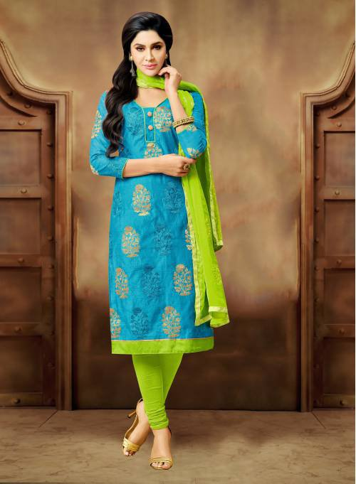 Craftsvilla Sky Blue Embroidered Chanderi Smart Casual Chudidar Floral Unstitched Dress Material With Matching Dupatta