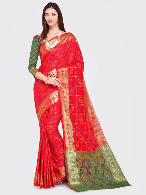 Red Silk Blend Woven Traditional Patola Saree With Unstitched Blouse Material