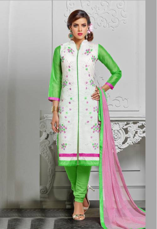 White And Green Color Chanderi Cotton  Embroidered Unstitched Traditional Straight Suit