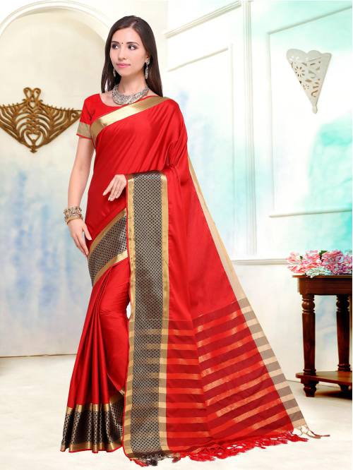 Red Color Cotton Silk Zari Work Traditional Saree With Unstitched Blouse Material