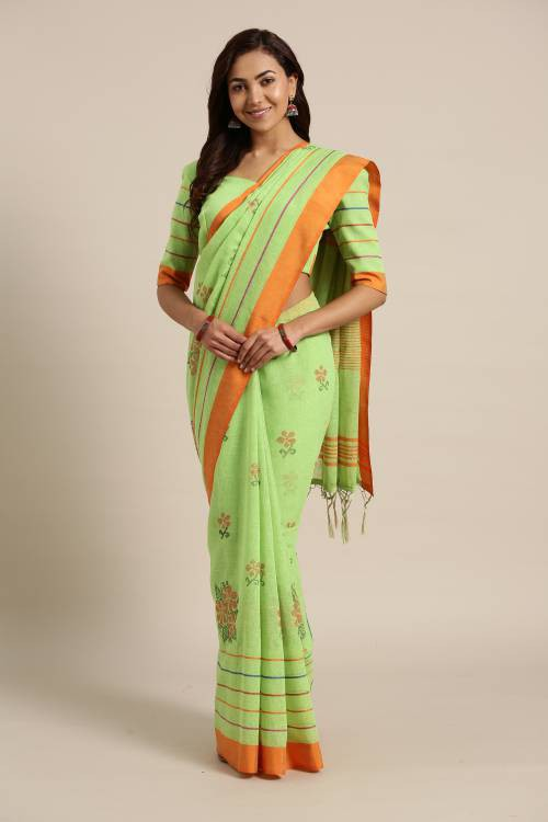Green Linen Saree With Unstitched Blouse Material