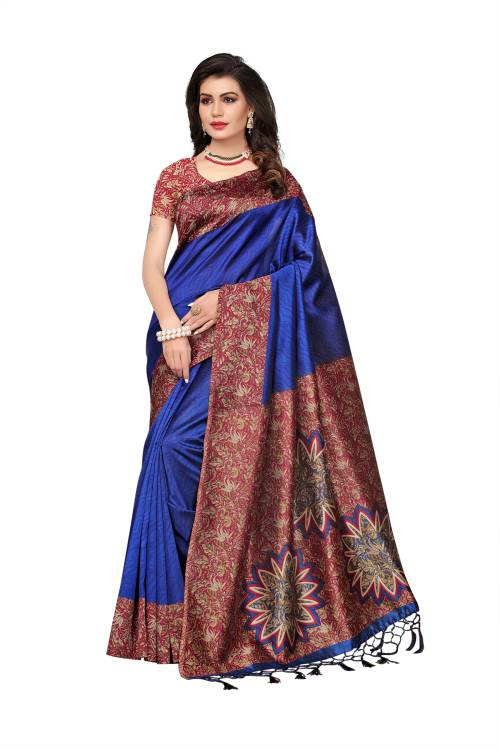Craftsvilla Blue Color Art Silk Printed Partywear Saree With Unstitched Blouse