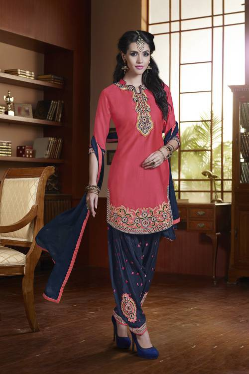 Pink Color Cotton Satin  Embroidered Unstitched Traditional Straight Suit