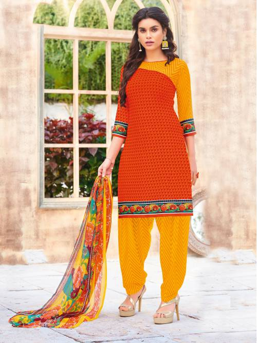 Craftsvilla Orange Color Crepe Printed Unstitched Straight Suit