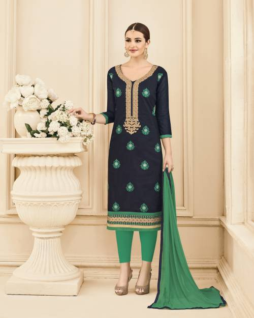 Craftsvilla Navy Color Chanderi Embroidered Unstitched Straight Suit