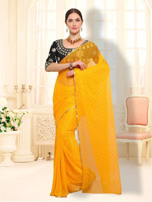 Yellow Color Chiffon Embellished Traditional Saree
